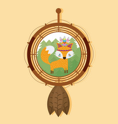 fox on dream catcher vector image