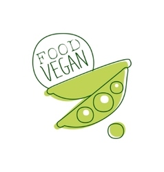 Fresh Vegan Food Promotional Sign With Green Peas vector image