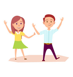 Girl and boy raise their hands up vector