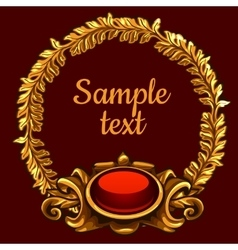 Golden ornate decoration on a red background vector image