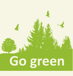 Green background with firs vector