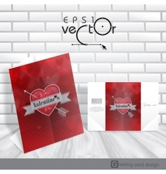 Greeting Card Design Template Happy Valentines D vector image