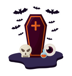 Halloween coffin with set icons vector