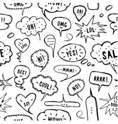 Hand-drawn speech bubble seamless pattern vector