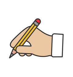 hand holding pencil color icon vector image