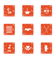 Handout icons set grunge style vector
