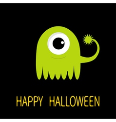 Happy Halloween greeting card Green monster with vector