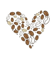 Heart of coffee beans vector