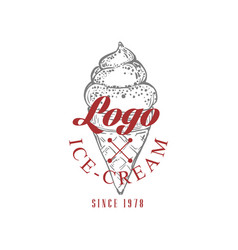 ice cream logo original design retro emblem for vector image