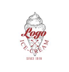 ice cream logo original design retro emblem vector image