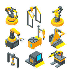 Isometric pictures of machinery factory machine vector