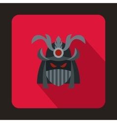 Japanese samurai mask icon flat style vector