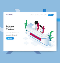 landing page template esports casters vector image