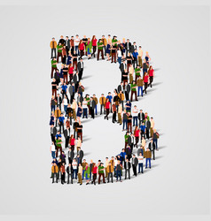large group of people in letter b form vector image