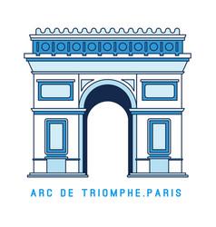 line art triumphal arch arc de triomphe paris vector image