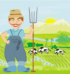Man working in green meadow vector image