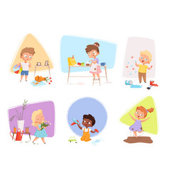 Messy kids happy children playing in various vector