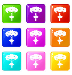 Nuclear explosion icons 9 set vector