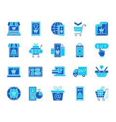 Online shop simple color flat icons set vector