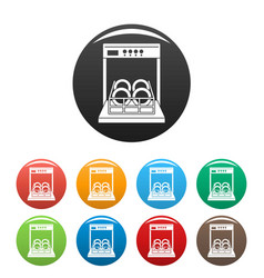 open dishwasher icons set color vector image