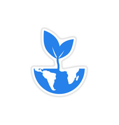 Paper sticker on white background Earth plant vector