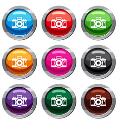 Photocamera set 9 collection vector