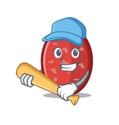 Playing baseball salami character cartoon style vector