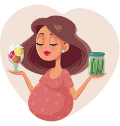 Pregnant woman choosing between ice cream and vector
