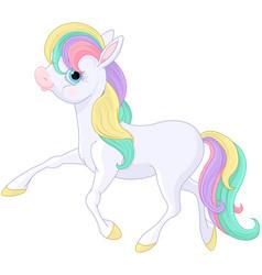 Rainbow pony walking vector