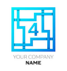 Realistic number four logo in colorful square maze vector