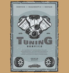 Retro poster of car engine tuning vector