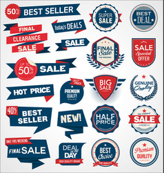 retro vintage blue and red badges and labels 0013 vector image