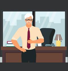 Senior successful businessman flat vector