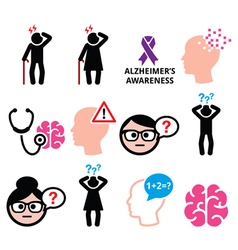Seniors health - Alzheimers disease and dementia vector