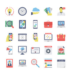 Seo and marketing flat colored icons 3 vector
