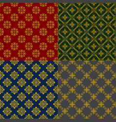 Set backgrounds with beautiful golg ornament vector