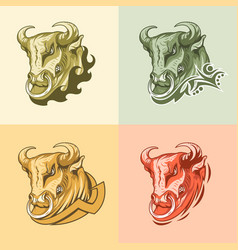 Set four pictures bull on different backgrounds vector
