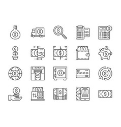 set money and banking line icons online vector image