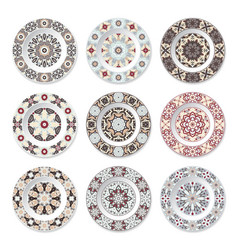 set of nine decorative plates vector image