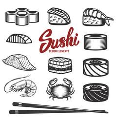 set sushi icons on white background seafood vector image