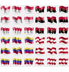 Singapore Angola Venezuela Austria Set of 36 flags vector