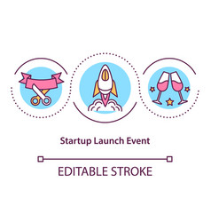 Startup launch event concept icon vector