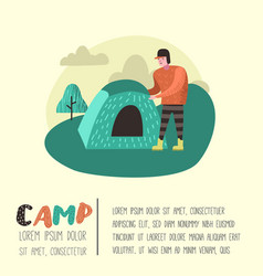 summer camping poster banner cartoon man in camp vector image
