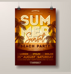 summer party flyer design with palm trees vector image