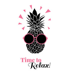 Time to relax pineapple wearing colorful vector