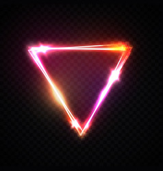 Upside down triangle neon background electric sign vector