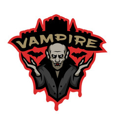 Vampire emblem on a dark background vector