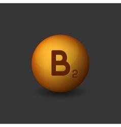 Vitamin B2 Orange Glossy Sphere Icon on Dark vector