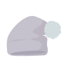 Warm Hat with Pompon Flat Design vector