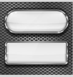White glass 3d buttons on metal perforated vector